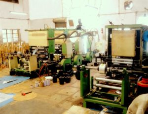Image showing state-of-the-art foil printing machines housed inside the Industrial shed of Shree Krishna Enterprise