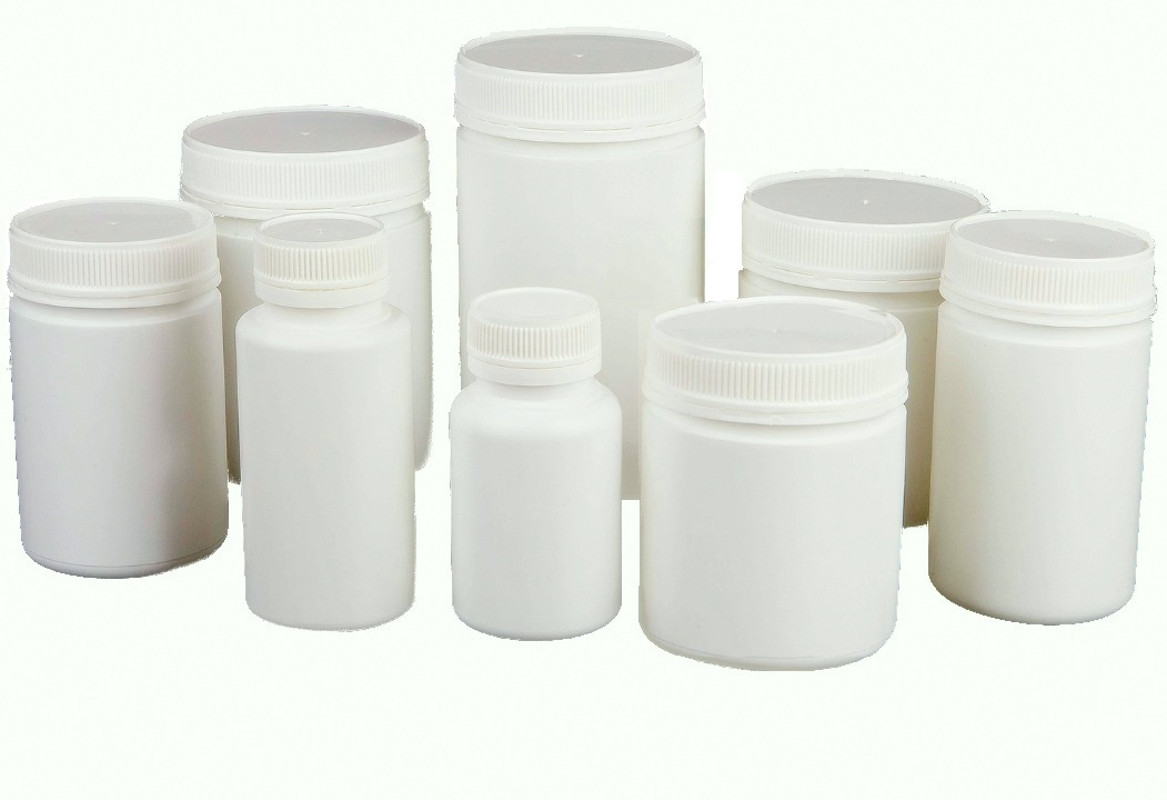 Image containing HDPE Bottles used for Pharmaceutical Packaging